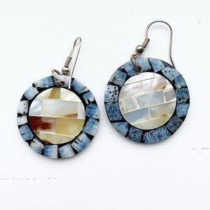 Boho & chic blue and cream tile disc drop earrings